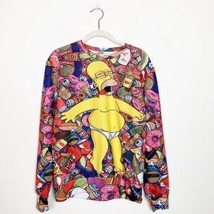 Homer Simpson Graphic Food Coma Sweatshirt Medium